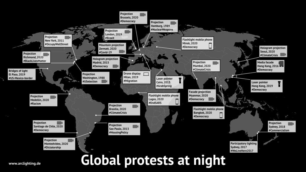 Global protests at night